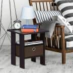 Home Living Dark Walnut Storage End Table (Set of 2)