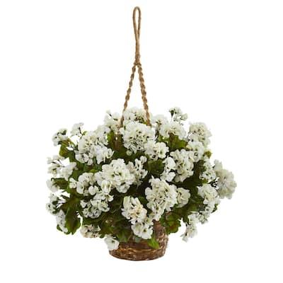 Indoor/Outdoor UV Resistant White Geranium Hanging Basket Artificial Plant