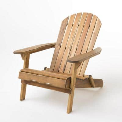 Hanlee Natural Stained Folding Wood Adirondack Chair