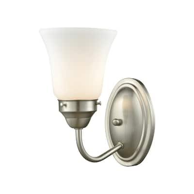 Califon 1-Light Brushed Nickel With White Glass Bath Light