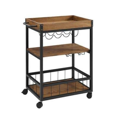 Austin Brown Bar Cart with Wine Rack