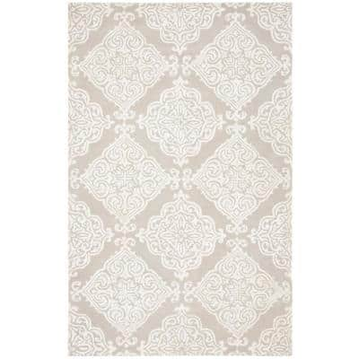 Glamour Silver/Ivory 5 ft. x 8 ft. Floral Area Rug