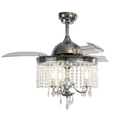 42 in. Indoor Silver Ceiling Fan with Light with Remote Control