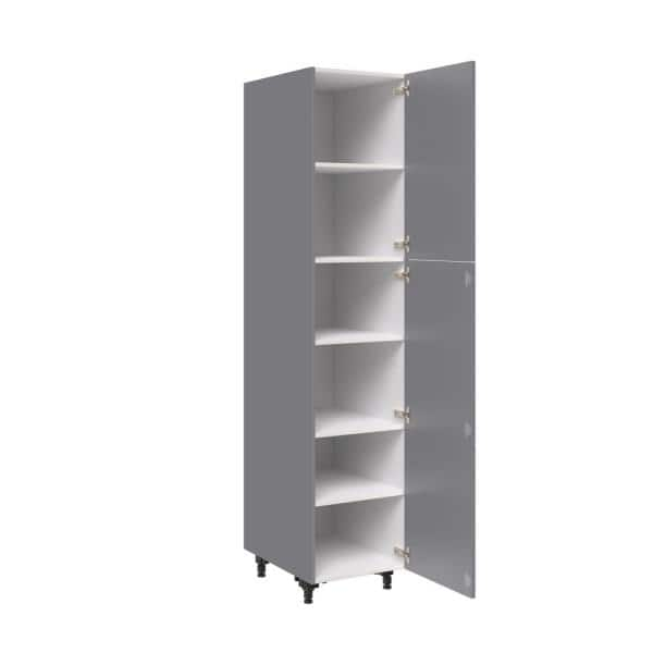 J Collection Shaker Assembled 18 In X 84 5 In X 24 In Pantry Cabinet In Gray Tt30182484 5 Lr Gs The Home Depot