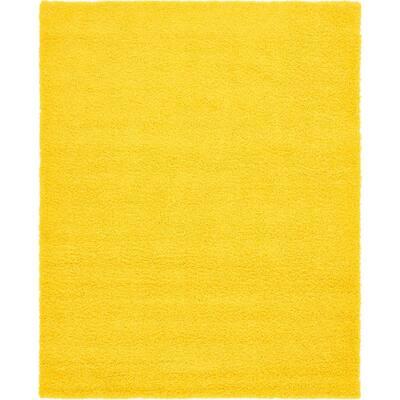 Solid Shag Tuscan Sun Yellow 8 ft. x 10 ft. Area Rug