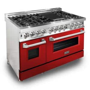 ZLINE 48'' 6.0 cu. ft. Dual Fuel Range with Gas Stove and Electric Oven in Stainless Steel and Red Gloss Door (RA-RG-48)
