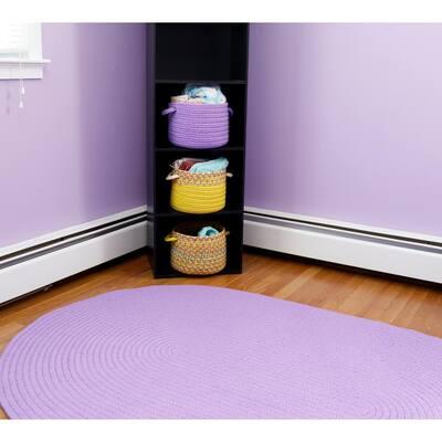 Joy Braids Solid Violet 4 ft. x 4 ft. Round Indoor/Outdoor Braided Area Rug