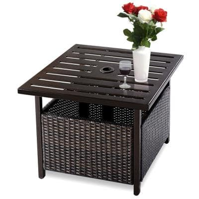 Table Shape Wicker Outdoor Coffee Table with Extension