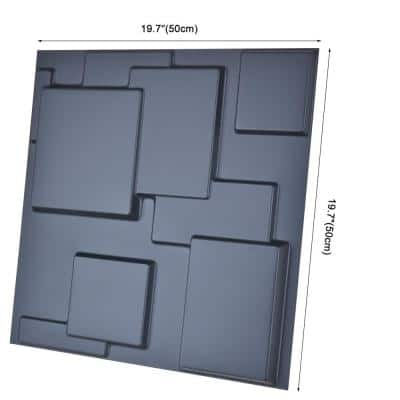 Decorative 3D Wall Panel Black Waterproof Paneling 19.7 in. x 19.7 in. (32 sq. ft./12-Pack)