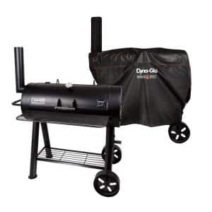 Signature Heavy-Duty Barrel Charcoal Grill in Black with Cover