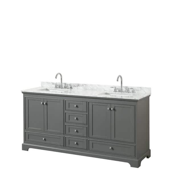 Wyndham Collection Deborah 72 In W X 22 In D Vanity In Dark Gray With Marble Vanity Top In Carrara White With White Basins Wcs202072dkgcmunsmxx The Home Depot