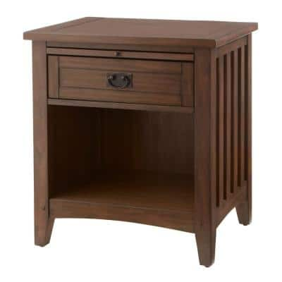 Abrams 1 Drawer Walnut Finish Nightstand (24 in W. X 25.98 in H.)