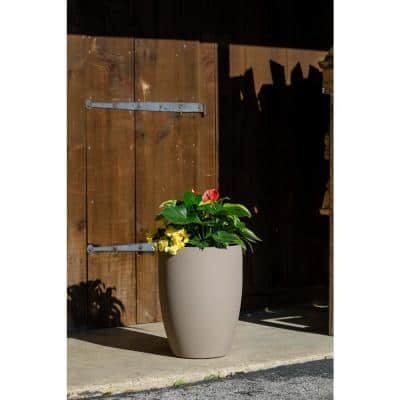 15 in. Dia Taupe Resin Round Planter