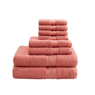800GSM 8-Piece Coral 100% Cotton Towel Set