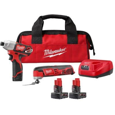 M12 12-Volt Li-Ion Cordless Oscillating Multi-Tool and Impact Driver Combo Kit with M12 XC 3.0 Ah Battery Pack (2-Pack)
