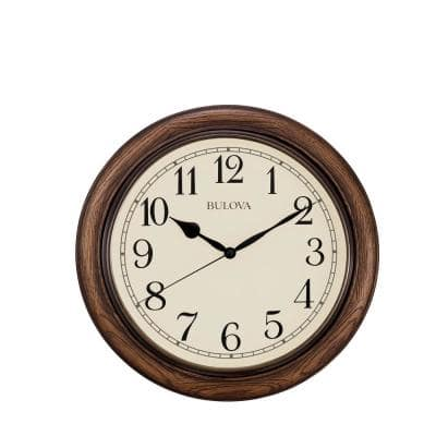16 in. H x 16 in. W Wall Clock with Solid Oak Case
