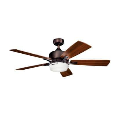 Leeds 52 in. Integrated LED Indoor Oil Brushed Bronze Downrod Mount Ceiling Fan with Light Kit and Wall Control