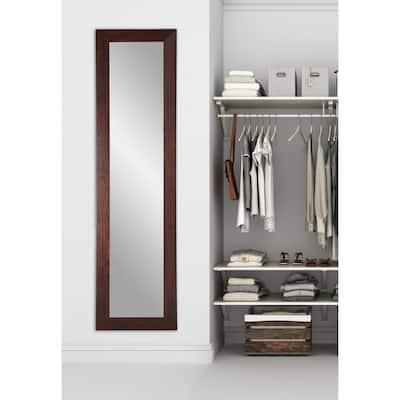 Oversized Dark Walnut Composite Hooks Modern Mirror (71 in. H X 21.5 in. W)