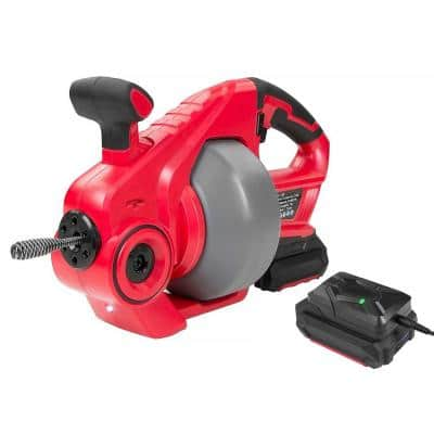18-Volt Lithium-Ion Drain Auger Cleaner with 25 ft. Reinforced Cable and Rechargeable Battery Included