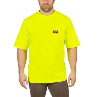 Men's Small High Visibility Heavy Duty Cotton/Polyester Short-Sleeve Pocket T-Shirt