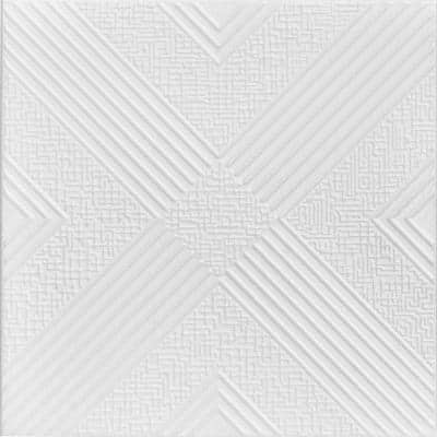 Hidden Trasure 1.6 ft. x 1.6 ft. Glue Up Foam Ceiling Tile in Plain White (21.6 sq. ft./case)