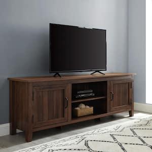 70 in. Dark Walnut Composite TV Stand Fits TVs Up to 78 in. with Storage Doors
