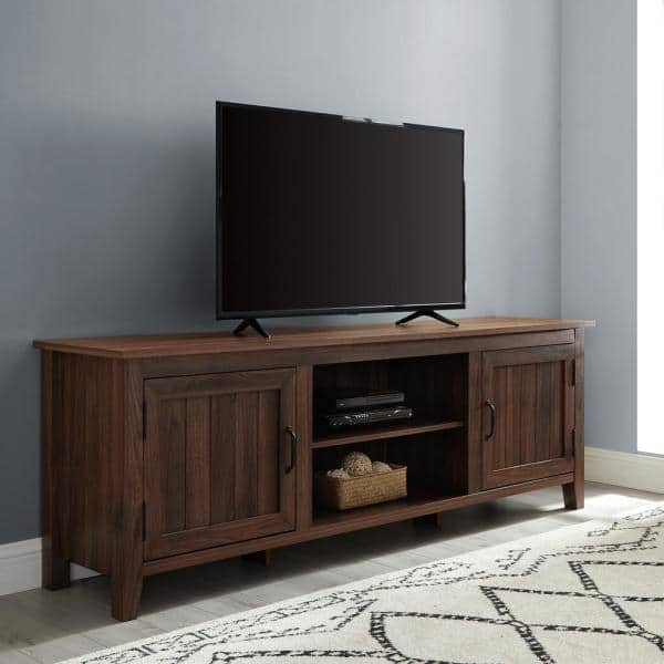 Walker Edison Furniture Company 70 In Dark Walnut Composite Tv Stand Fits Tvs Up To 78 In With Storage Doors Hd8143 The Home Depot