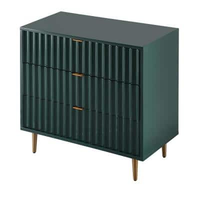 Green Vertical pattern High Gloss 3-Drawer Storage Accent Chest of Drawers with Golden Stands