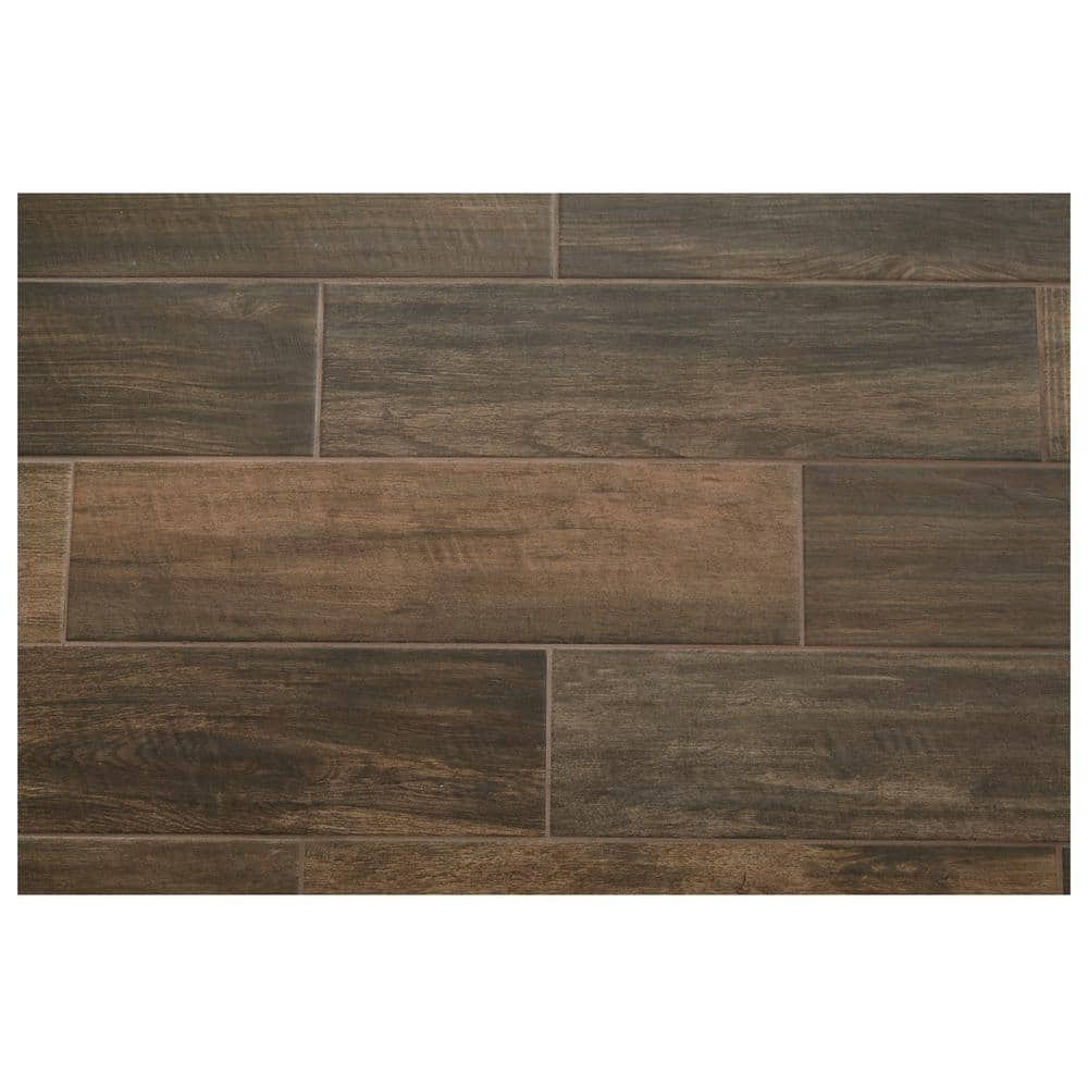 daltile brentwood walnut 6 in x 24 in glazed porcelain floor and wall tile 14 55 sq ft case bw10624hd1pr the home depot