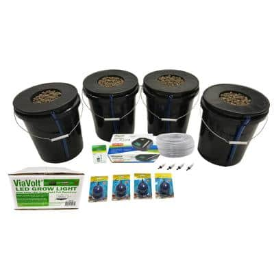 Deep Water Culture Hydroponic 4-Plant System with 65-Watt LED Grow Light