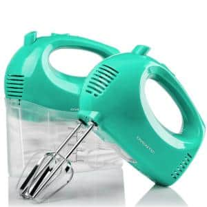 5-Speed Turquoise Portable Electric Hand Mixer with 2 Whisk Beater Attachments and Snap-on Storage Container