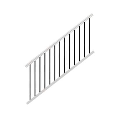 Traditional 6 ft. x 36 in. White PolyComposite Stair Rail Kit with Black Metal Balusters