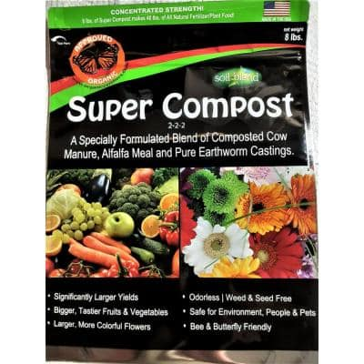Super Compost 8 lbs. Concentrated 8 lbs. Bag makes 40 lbs. Organic Planting Mix, Plant Food and Soil Amendment
