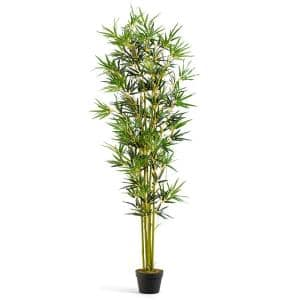 6 ft Artificial Bamboo Silk Tree Indoor Outdoor Home Office Decorative Planter