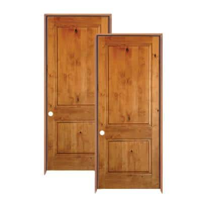 30 in. x 80 in. Rustic Knotty Alder 2-Panel Square Top Solid Wood Left-Hand Single Prehung Interior Door (2-Pack)