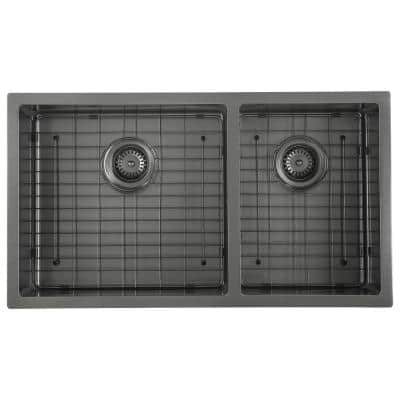 Prestige Series Undermount Stainless Steel 32 in. Double Bowl Kitchen Sink in Black PVD Nano Finish Grid and Strainer