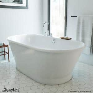 Caribbean 66 in. L x 36 in. W Fiberglass Freestanding Flatbottom Soaking Bathtub in White