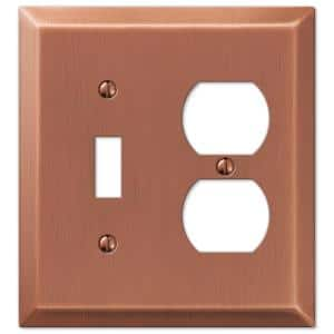 Metallic 2 Gang 1-Toggle and 1-Duplex Steel Wall Plate - Antique Copper
