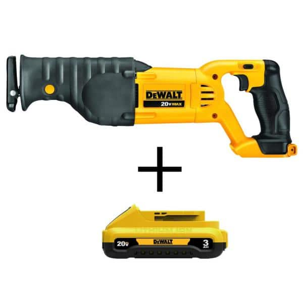DEWALT 20-Volt MAX Lithium-Ion Cordless Reciprocating Saw with (1) 20-Volt Compact 3.0Ah Battery | The Home Depot