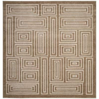 Amherst Wheat/Beige 7 ft. x 7 ft. Square Boxes Geometric Area Rug