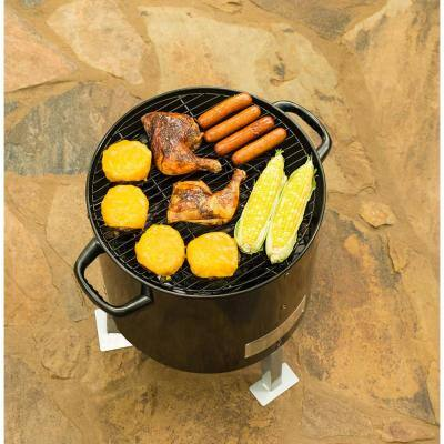 Portable Charcoal Bullet Smoker in Black