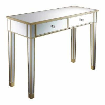 Gold Coast 42 in. Rectangle Champagne MDF and 2 Drawer Writing Desk with Mirrored Inlay