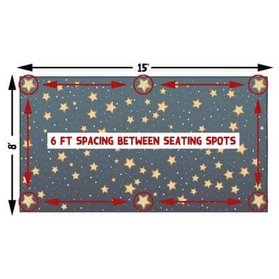 Blue 6 ft. Social Distancing Colorful Kids Classroom Seating Area Rug, Starry Sky Design, 8 x 15 ft Extra Large