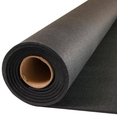 GMats Black 48 in. W x 120 in. L Rolled Rubber Gym Exercise Flooring Roll (40 sq. ft.)