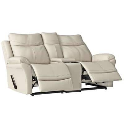 76.5 in. Off-White Almond Polyester 2-Seater Reclining Loveseat with Cupholders