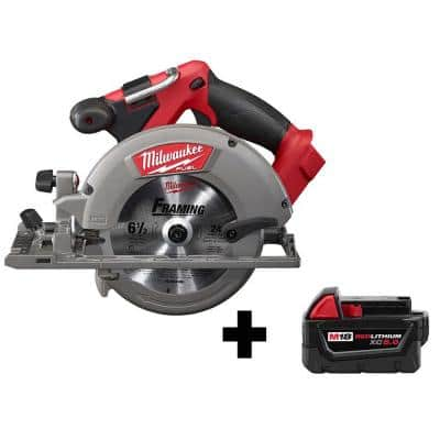 M18 FUEL 18-Volt Lithium-Ion Brushless Cordless 6-1/2 in. Circular Saw W/ M18 5.0 Ah Battery