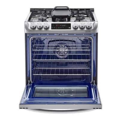 6.3 cu. ft. Smart Slide-In Dual-Fuel Electric Range with ProBake Convection Oven & Self-Clean in Stainless Steel