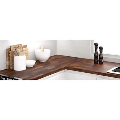 Acacia 8 ft. L x 25 in. D x 1.5 in. T Butcher Block Countertop in Brown Oil Stain