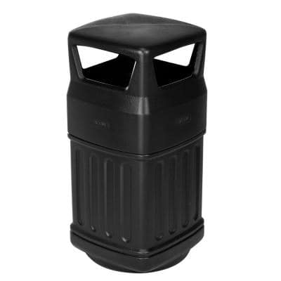 16 Gal. Black Indoor Outdoor Open Dome Top Commercial Trash Can with Dome Lid