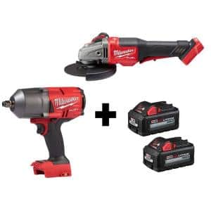 M18 FUEL 18-Volt 1/2 in. Lithium-Ion Brushless Cordless Impact Wrench & Braking Grinder with (2) 6.0Ah Batteries